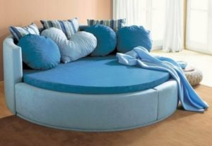 Blue Color Round Bed for Bedroom Decor