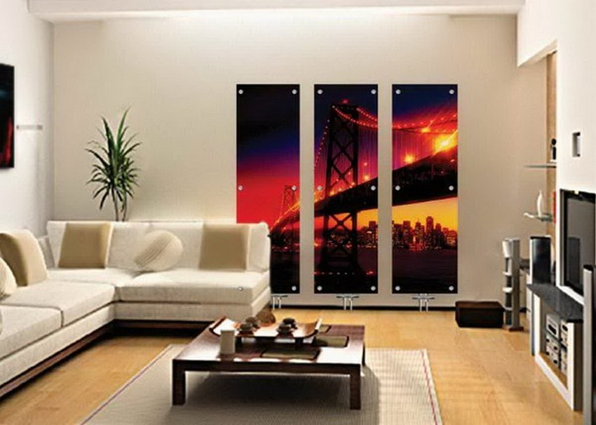 Corner Couch and Cool Wall Art in Modern Living Room