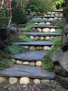Country Style Garden Stair Ideas