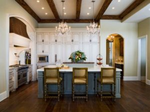 French Country Kitchen with Island and Chandeliers