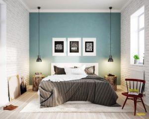 Light Blue Scandinavian Bedroom Design
