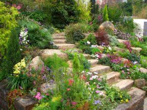 Stone Slabs Landscape Design Garden Stairs