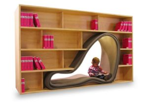 Stylish Bookshelves and Reading Chair