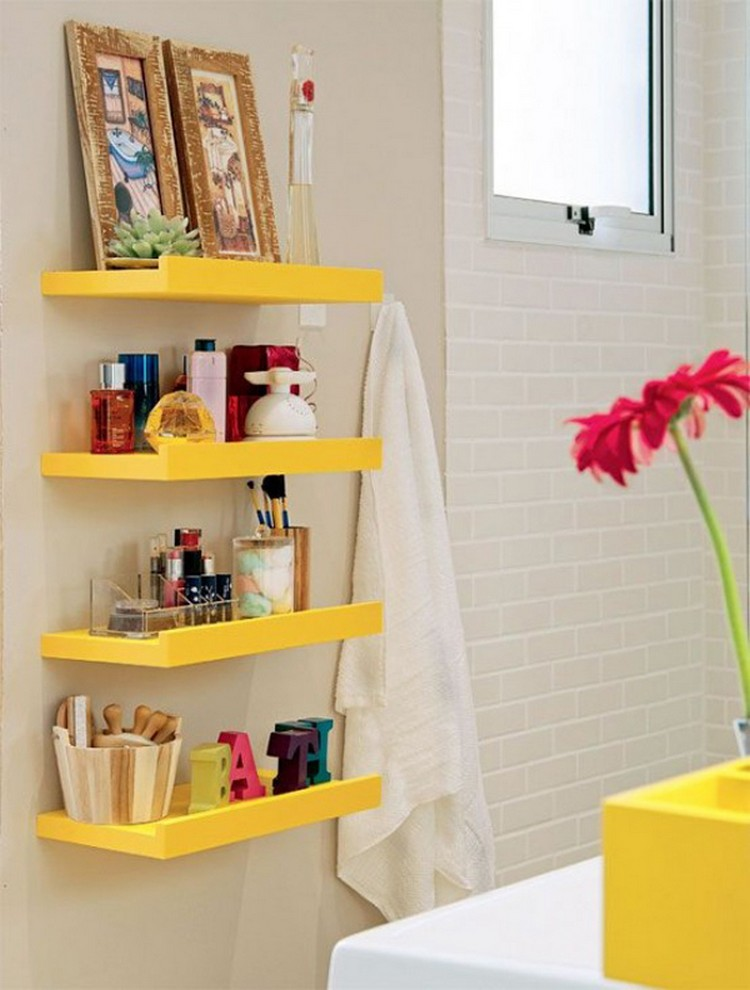Yellow Bathroom Storage