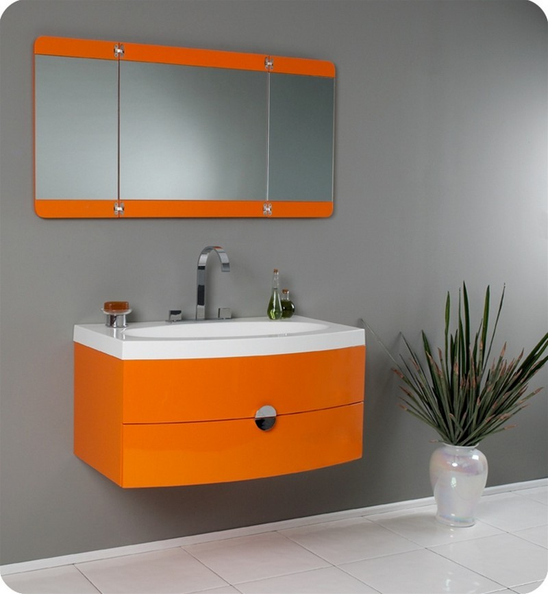 Oranged Bathroom Vanity Mirror and Sink