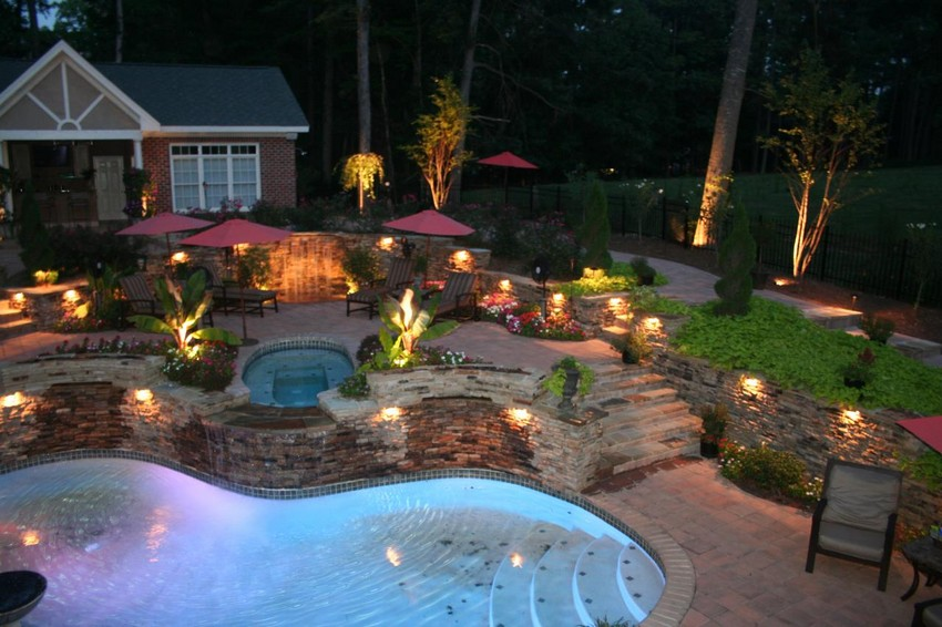 Pool Area Stunning Outdoor Lighting