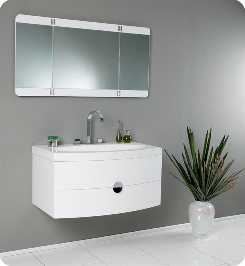 White Modern Bathroom Vanity Mirror