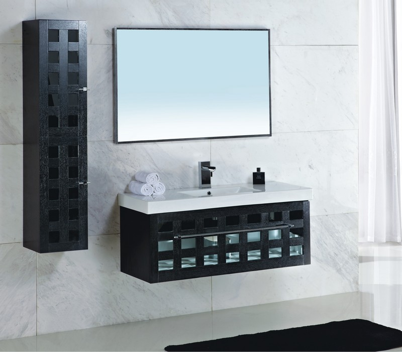 Wonderful Black Bathroom Vanity Mirror with White Sink and Black Wooden Wall Mounted Cabinet
