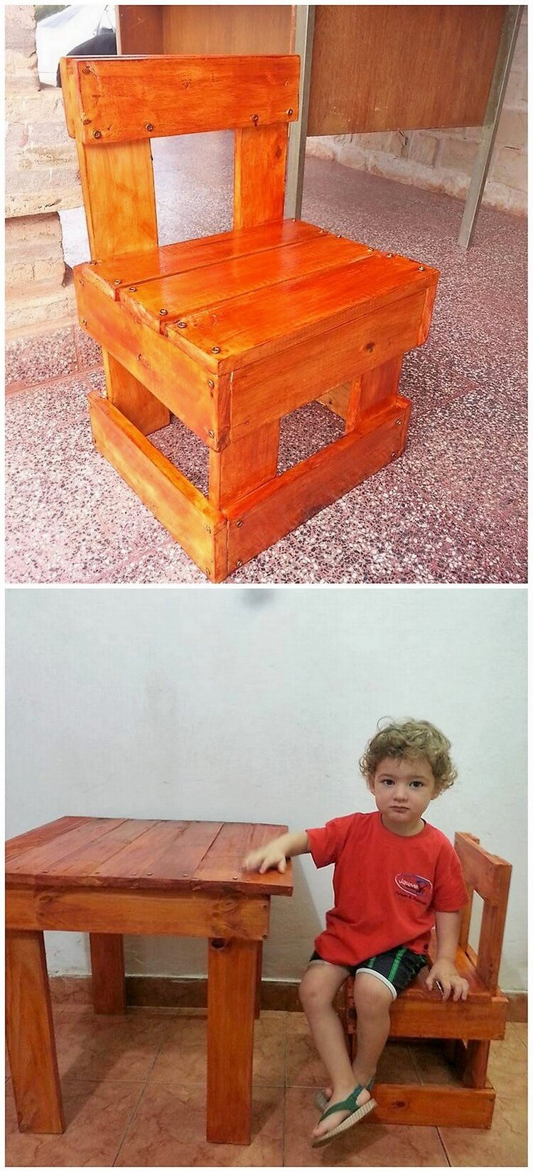 Pallet Chair and Table for Kids
