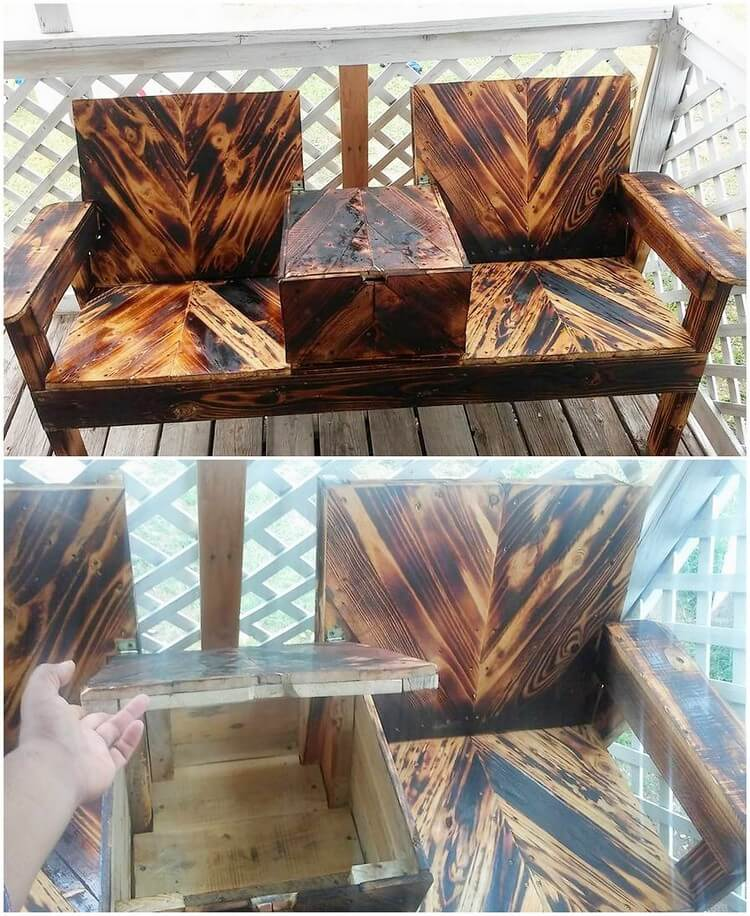 Pallet Chairs with Center Storage Table
