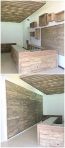 Pallet Counter Table, Wall Paneling and Roof