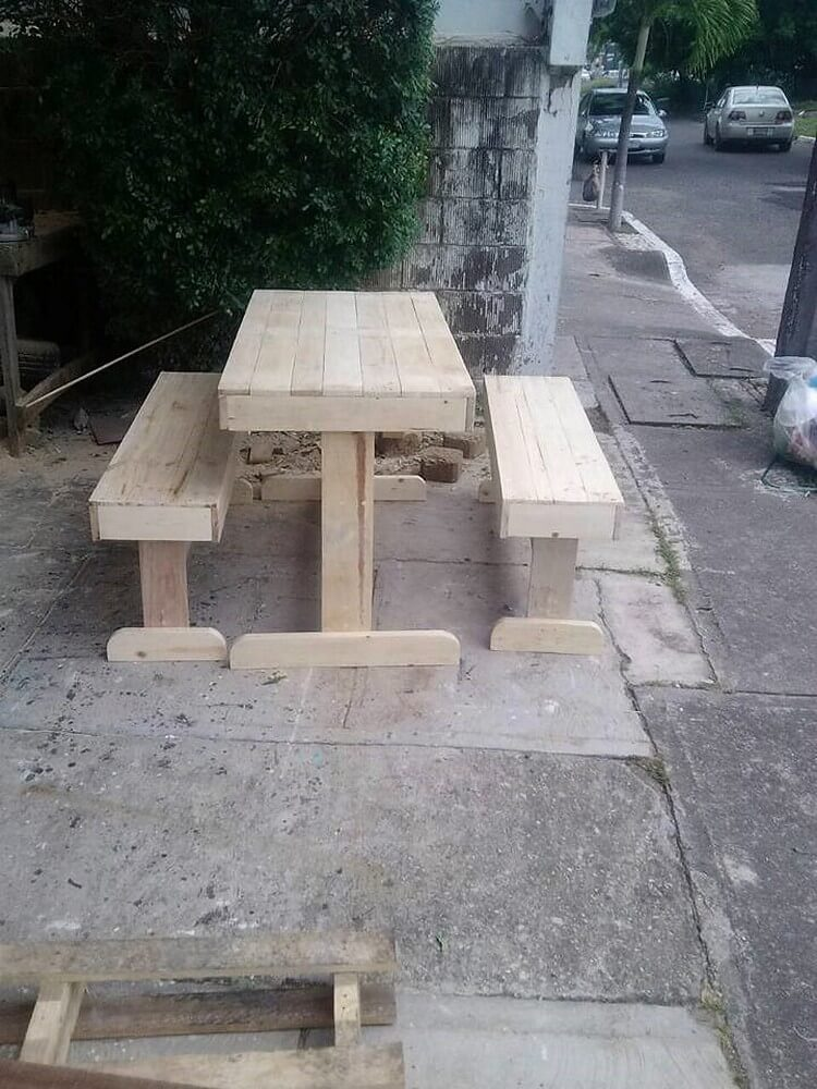 Pallet Table and Benches for Outdoor