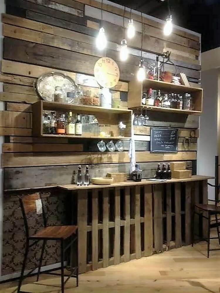 Pallet Wall Paneling, Shelves and Bar