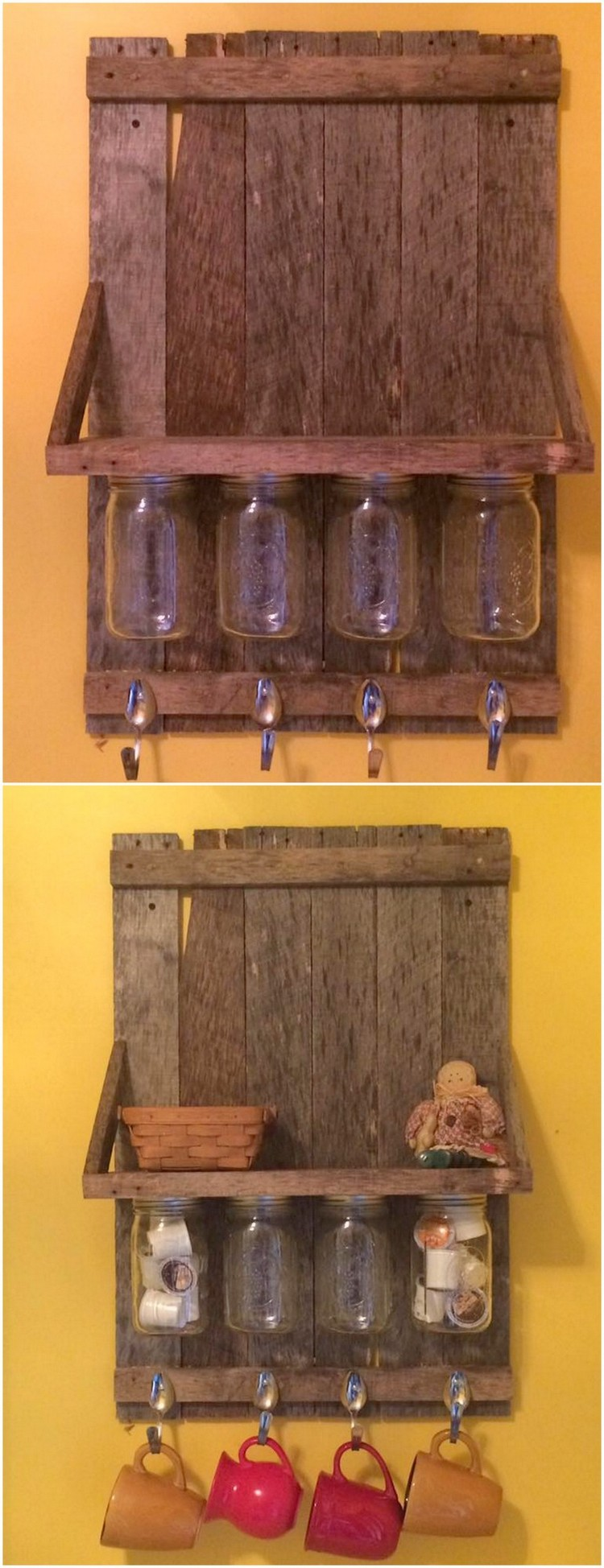 Pallet and Mason Jars Wall Shelf