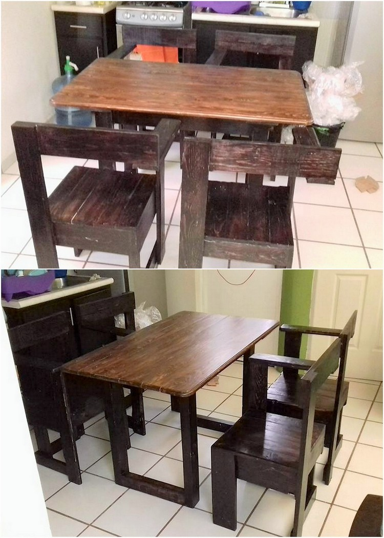 Unique Pallet Dining Table Set