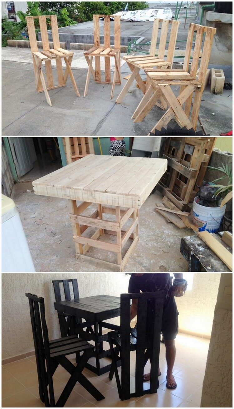 Unique Wood Pallet Chairs and Table