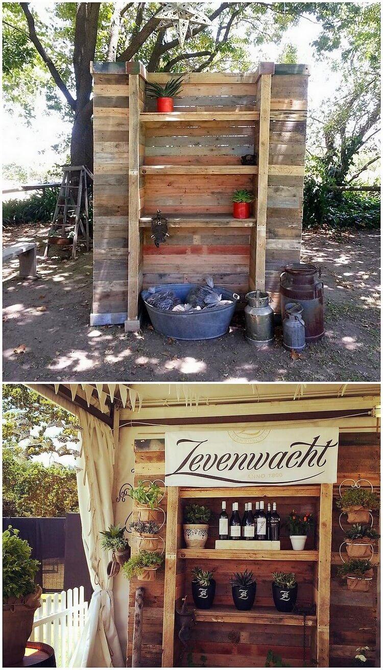 Unique Wood Pallet Shelving Unit