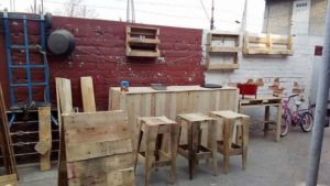 Pallet Bar Counter and Stools