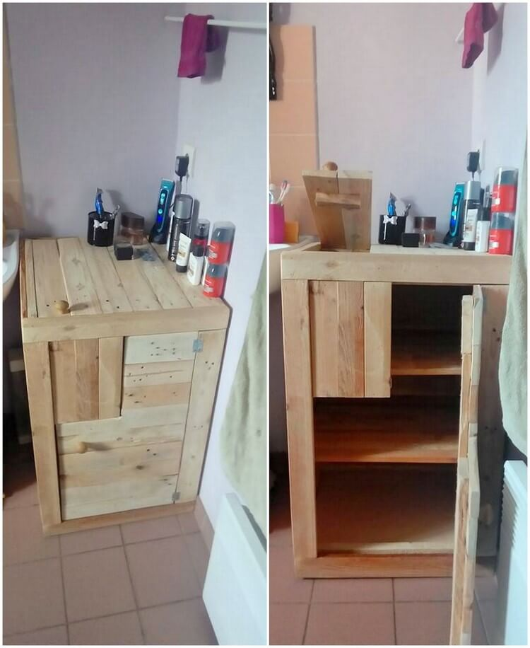 Pallet Bathroom Side Table