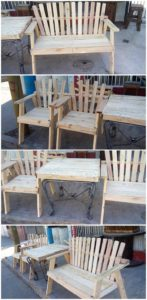 Pallet Bench and Chairs with Center Table