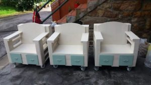 Pallet Chairs with Drawers