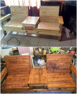 Pallet Double Chairs Bench with Center Table