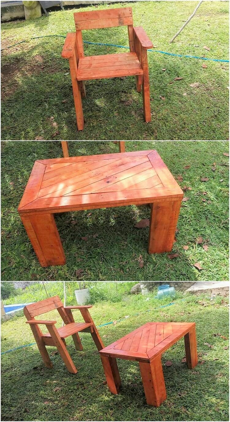 Pallet Garden Chair and Table
