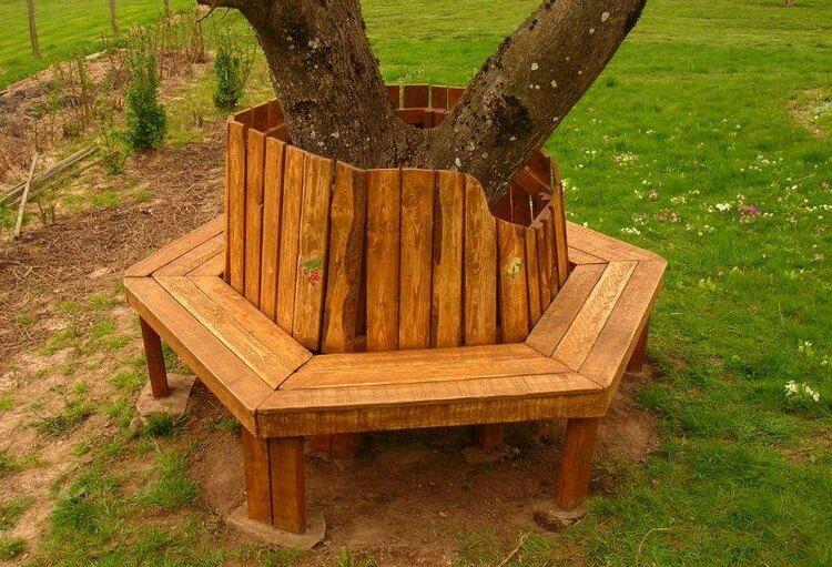 Pallet Round Tree Bench