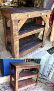 Pallet Shelving Table with Drawers