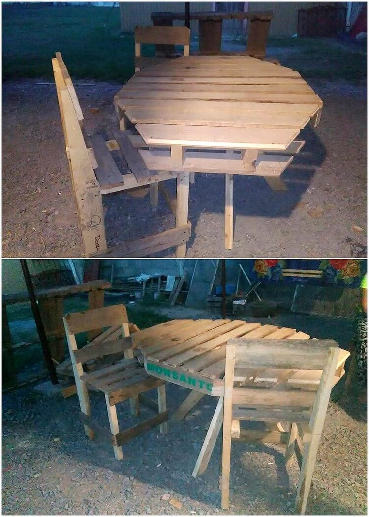 Recycled Pallet Round Table and Chairs