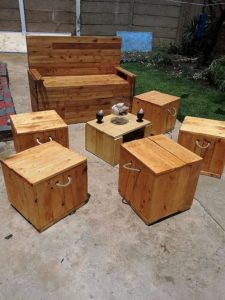 Pallet Bench and Ottomans