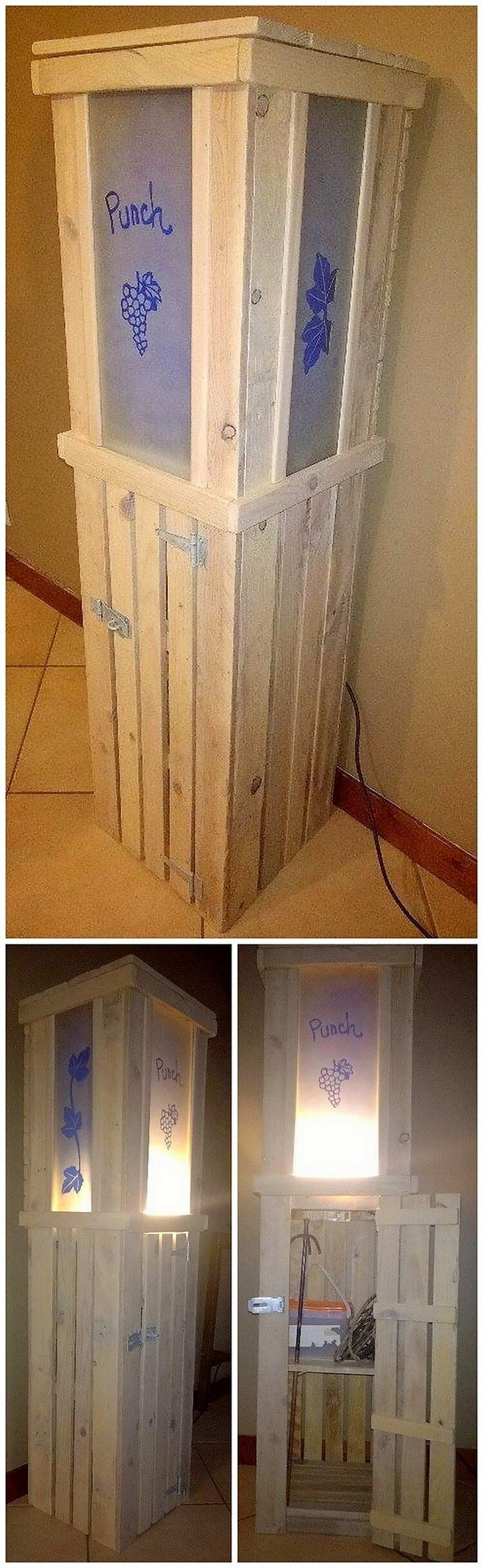 Pallet Lamp Stand with Storage