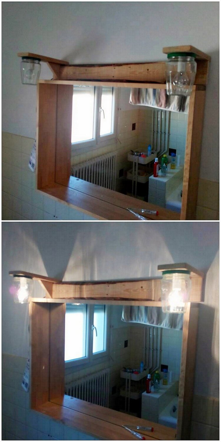 Pallet Mirror Frame with Lights