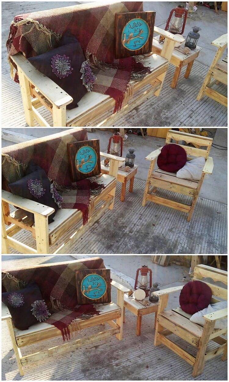 Pallet Outdoor Bench and Chair