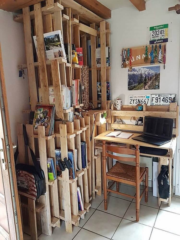 Pallet Study Table and Bookshelf