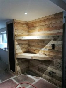 Pallet Wall and Corner Shelves
