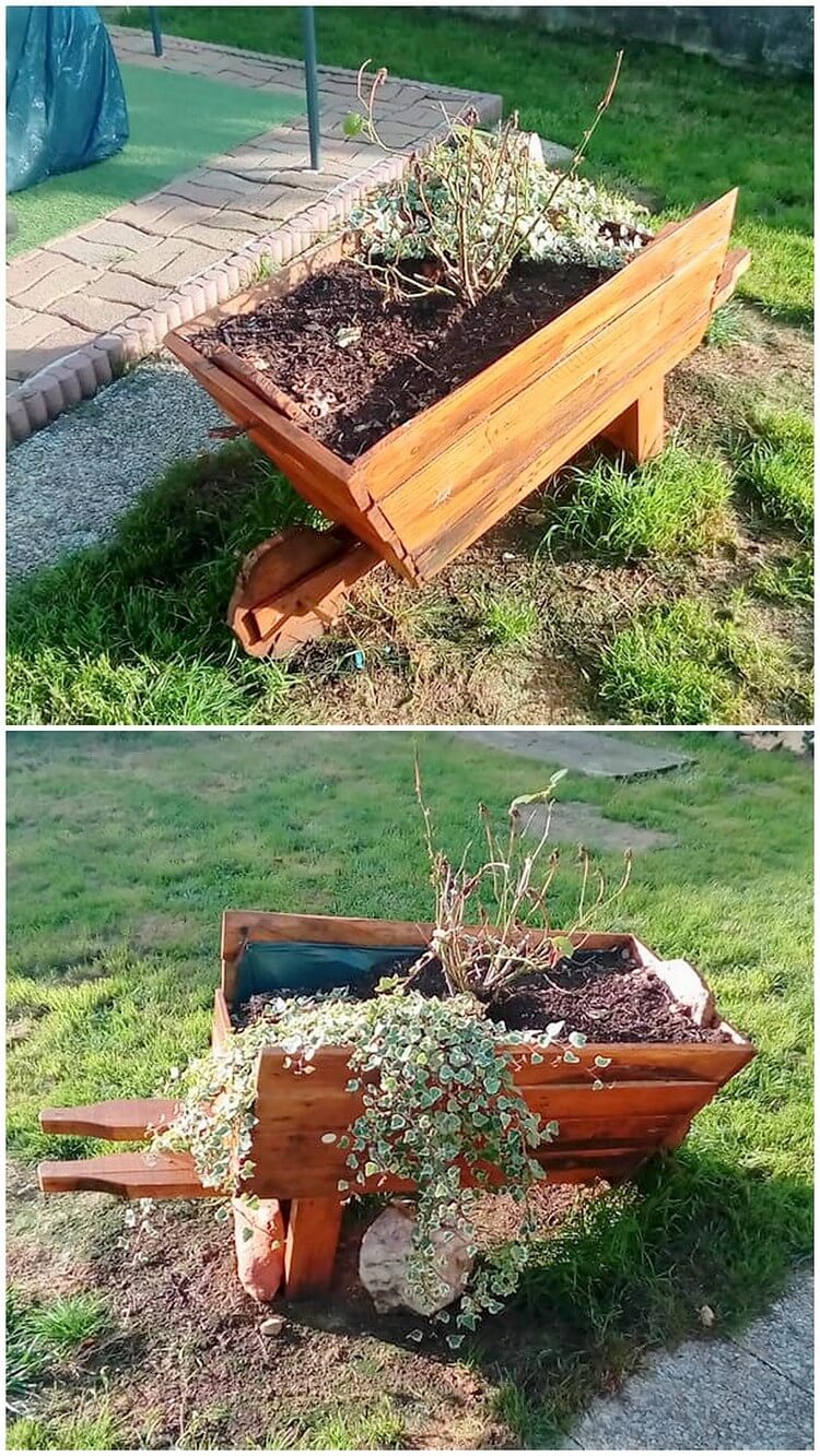 Pallet Wheel Barrow Planter