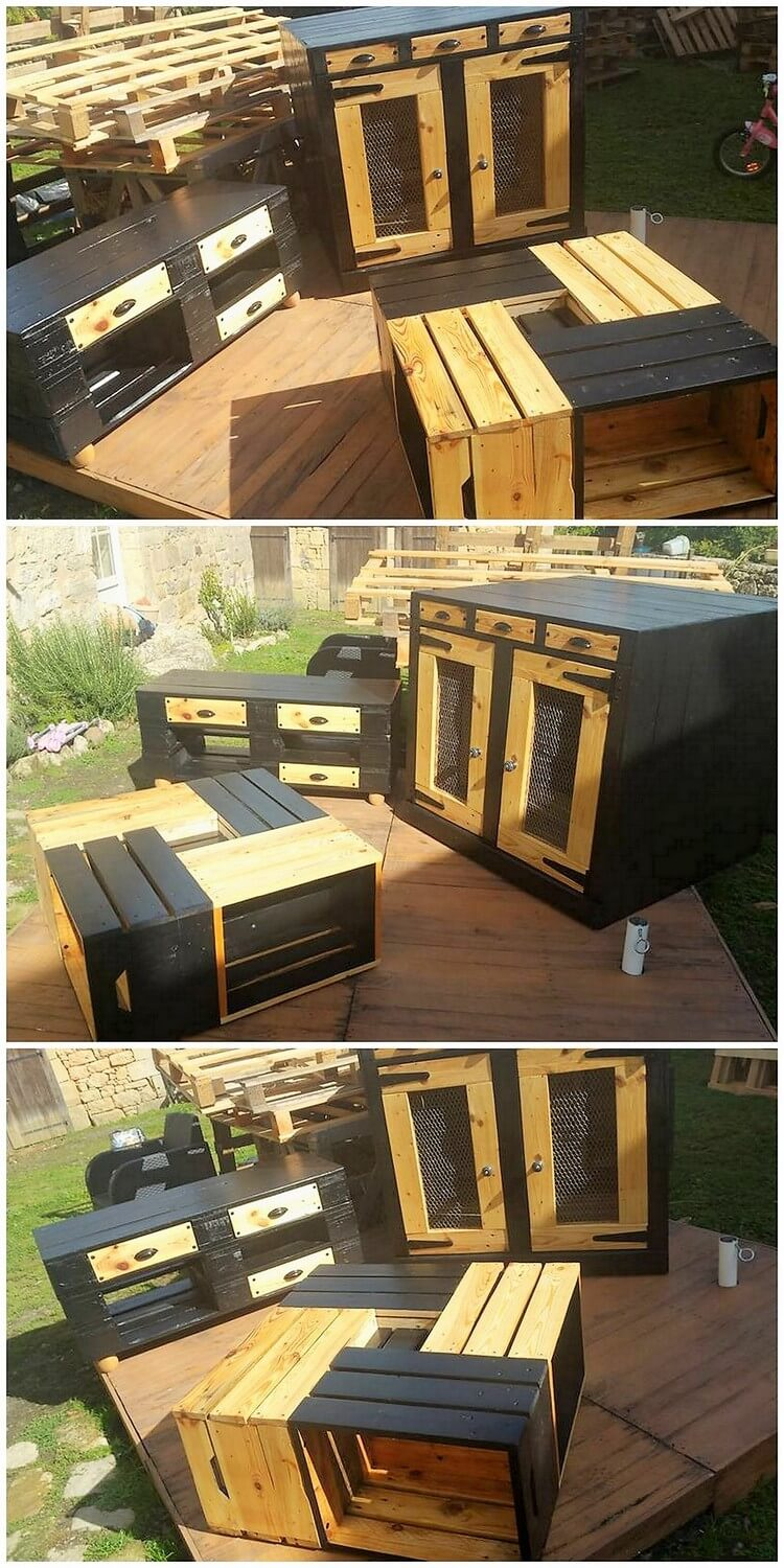 Wooden Pallet Cabinet and Table