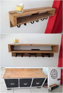 Pallet Coat Rack Shelf and Table