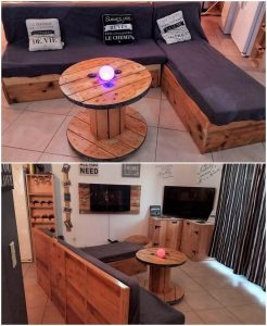 Pallet Corner Couch and Round Table