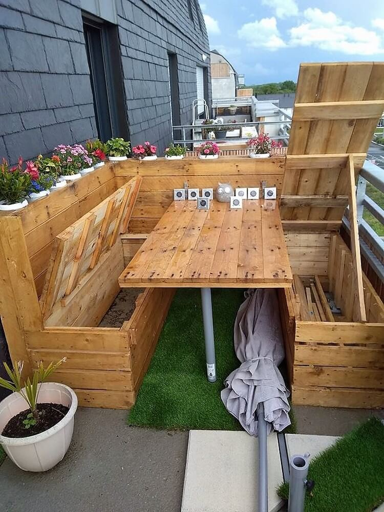 Pallet Couch Set with Storage and Table