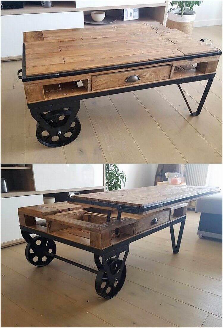 Pallet Lift Up Top Coffee Table on Wheels