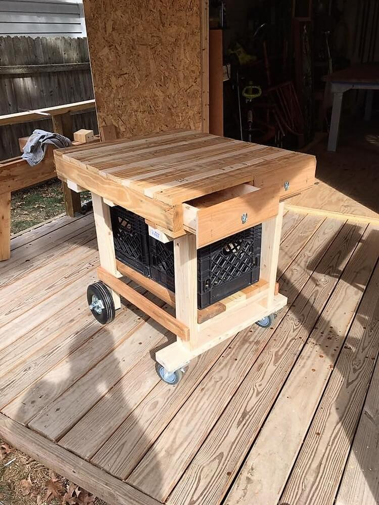 Pallet Rolling Table with Drawers