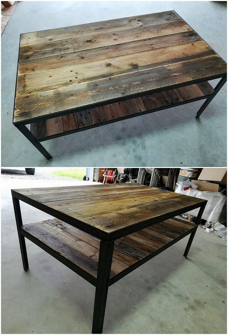 Pallet Table with Metal Legs