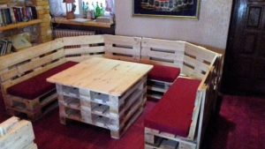 Pallet U Shaped Couch and Table