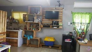 Pallet Wall LED Holder with Shelving Unit