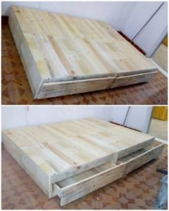 Recycled Pallet Bed with Drawers