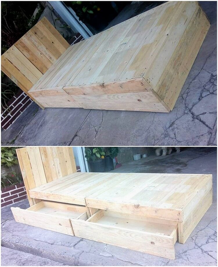 Recycled Pallet Bed with Storage Drawers