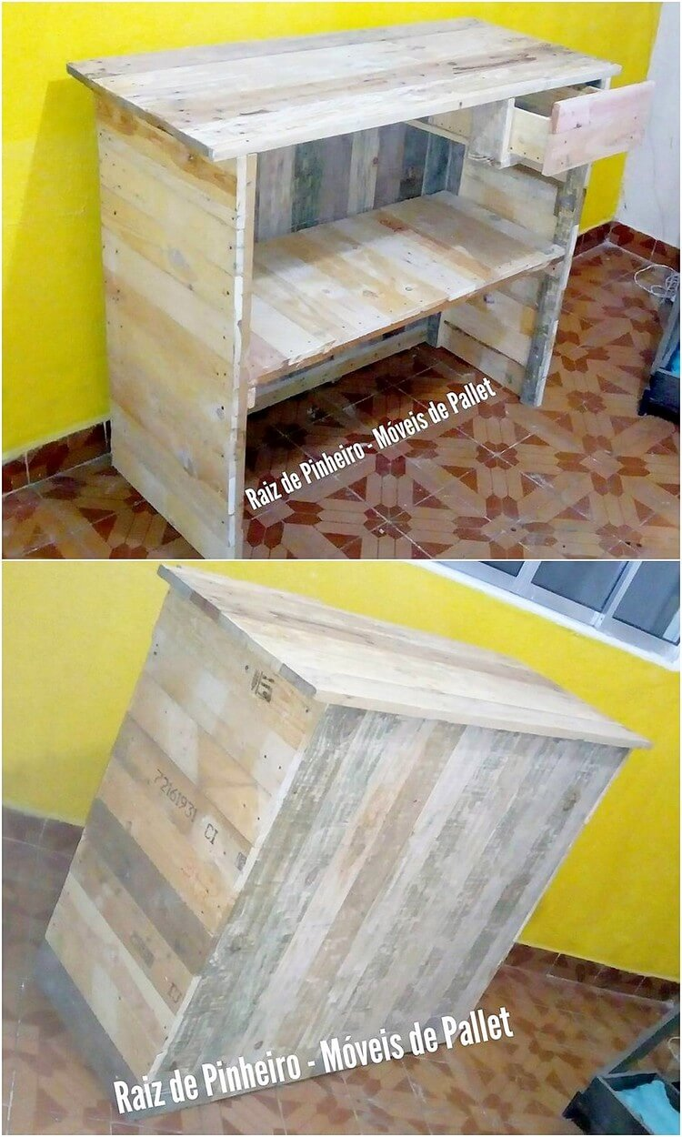 Recycled Pallet Counter Table with Drawer