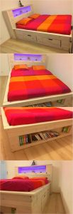 Pallet Bed with Book Storage